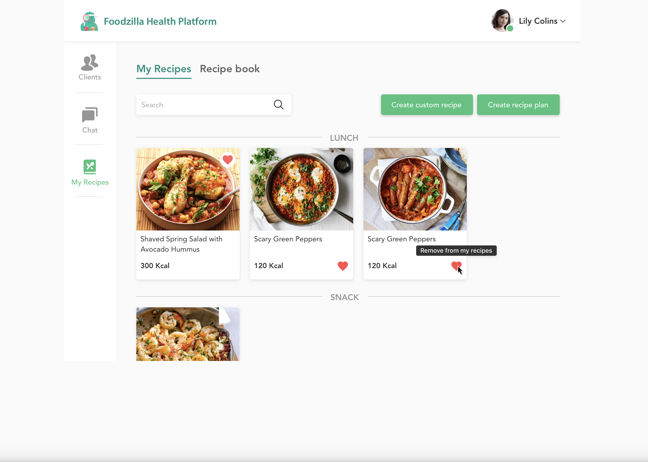 Meal planner feature